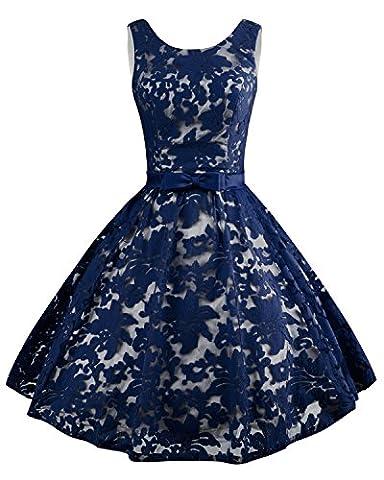 Levory J Women's Vintage Floral Lace Contrast Bow Cocktail Evening Dress(12, Navy Blue)