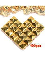 100pcs Claw Clous Rivets rock punk Studs carré pyramide doré
