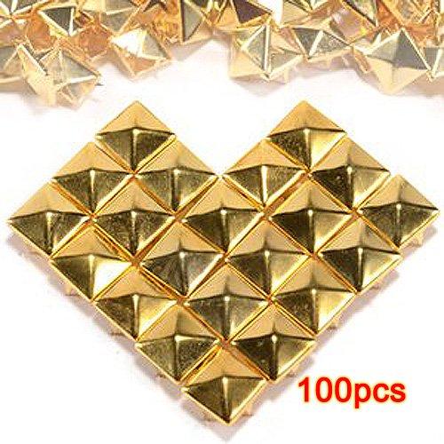 100pcs Claw Clous Rivets rock punk Studs carré pyramide doré