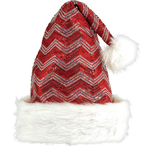 Red & White Glitzy Santa Hat | Christmas -