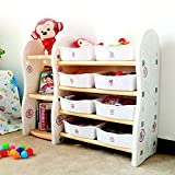 Toy Storage Organizer For Kids Collection Rack of Children Deluxe Plastic bookshelf and basket Frame Sundries with 8 toy organizer bins Bins (A+B)