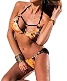 MIA GARMENT Halter Bikini Set Sexy Sequin Bathing Suit Two Piece Swimsuits for Women Color Gold Size Large