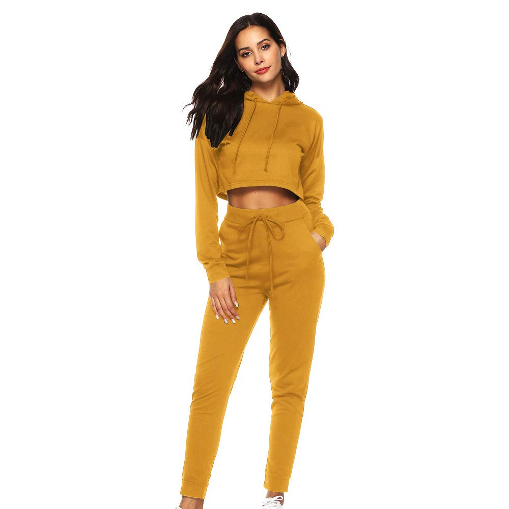 Willsa 2Pcs Women Solid Tracksuit Sweatshirt Long Pants Sport Lounge Wear Suit Sets Yellow by Willsa