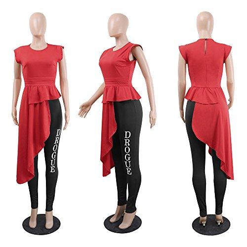 Unie Col Vest Freestyle Irrgulier Mancherons t Femmes Tops Blouse Hauts Couleur T Rond Chemisiers Shirt Slim Elegante Jeune Rouge Tee Mode HOfAHxq
