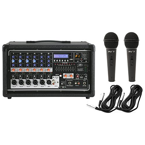 (Peavey PVi 6500 Powered Mixer 400W 6-channel with 6 Inputs and FX w/ 2 Mics and Cables)