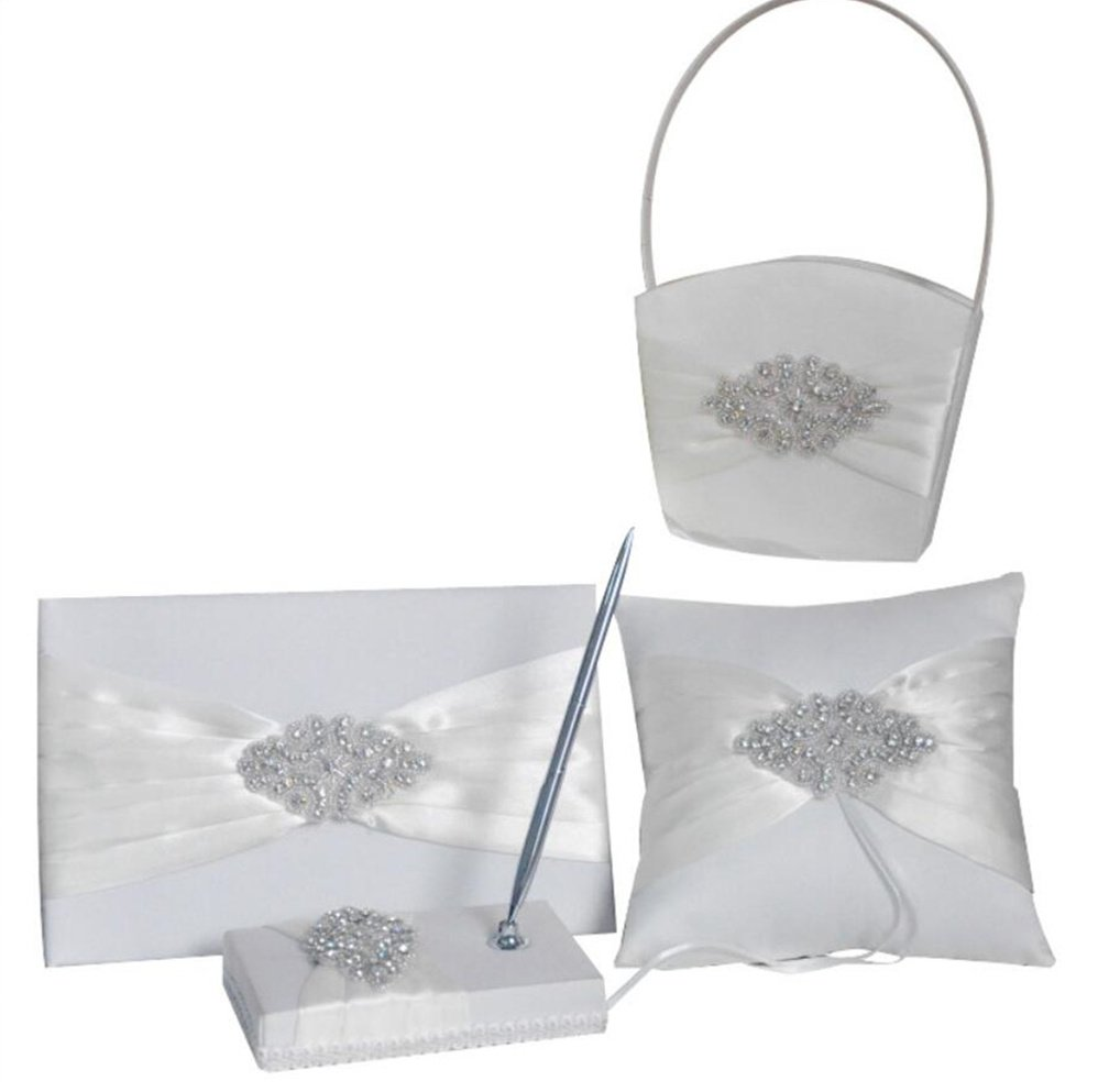 Dollbling Crystal Rhinestones Satin Wedding Flower Girl Basket+Ring Pillow+Guest book+Pen Holder Set , White