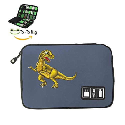 Boosfun Electronic Accessories Travel Bag Dinosaur USB Flash Drive Case Bag Wallet, SD Memory Cards Cable Organizer (Black, Blue and Grey)