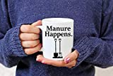 Manure Happens Funny Horse Quote Mug for Horseback Riders and Equestrians, Gift for Horse Lover