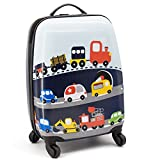 Lttxin cute kids suitcase pull along boys travelling with 4 wheel hard shell 16 inch veholes For Sale