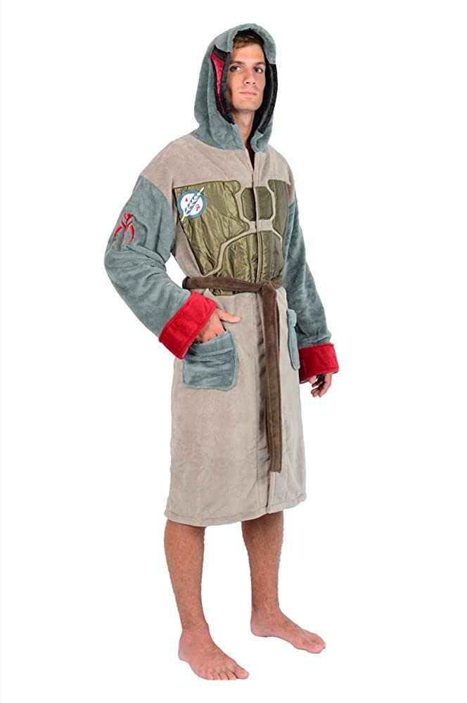 Star Wars Boba Fett Adult Hooded Fleece Robe Multi One Size Fits Most