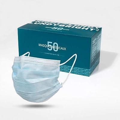 Lundybright, 3 capas tipo I médica, mascarilla quirúrgica, caja de 50