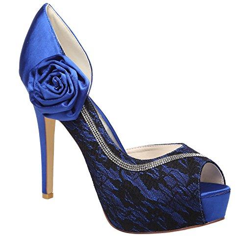 Juhlakengät Peep Meijia Korkokengät Naisten Toe Platform Prom Pumput Naisten Häät Sandaalit Diamante Satiiniset Sininen 0EggSwxFqp