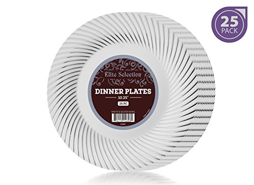 Elite Selection Pack Of 25 White Dinner Plates With Silver Swirl 10.25-Inch