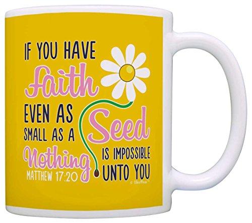 Bible Verse Gifts Nothing is Impossible Unto You Matthew 17:20 Gift Coffee Mug Tea Cup Yellow