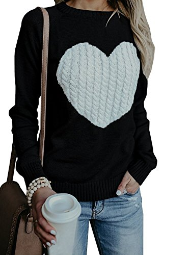 Kathemoi Womens Casual Sweaters Crew Neck Heart Black Grey Jumper Pullover Sweater Knit Tops -