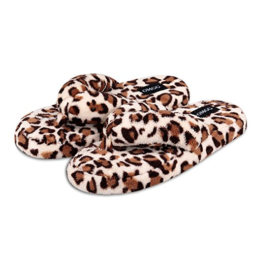 Fluffy Home Slippers for Women with Animal Print Fleece Flip-Flops (9.5-10.5 B(M) US, Yellow Leopard)