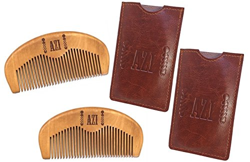 Price comparison product image 2 Azi's Vintage Style 100% Premium Pear Wood Beard & Mustache Comb - No Static & No Snag - Home Travel Car Gym Bag - Great to pair with Beard Oil For Ultimate Beard Care