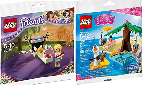 Lego Disney Princess Olaf's Summertime Fun Frozen Set 30397 & LEGO Friends Bowling with mini figure girl & Hot Dog Set LEGO (30399) edition Building Set