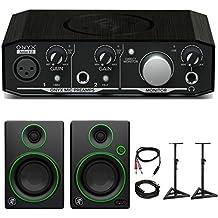 "Mackie Onyx Artist 1-2 2x2 USB Audio Interface with CR3 3"" Multimedia Monitors Bundle"