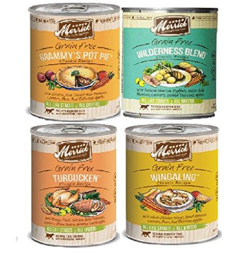 Merrick Grain Free13.2 OzClassic Canned Dog Food Variety Bundle #1 – 4 Flavors (Grammy's Pot Pie, Turducken, Wingaling, Wilderness Blend – 3 of each flavor) Review