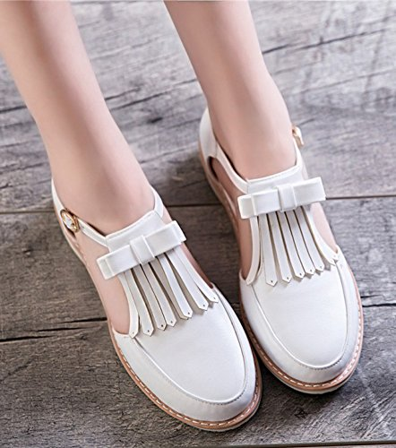 Round Chunky Low Trendy White With Easemax Pumps Tassels Toe Heels Women's ZBEpxqF
