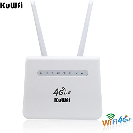 KuWFi 4G LTE Wireless CPE WiFi Router 300Mbp with SIM Card Slot up to 32 Users