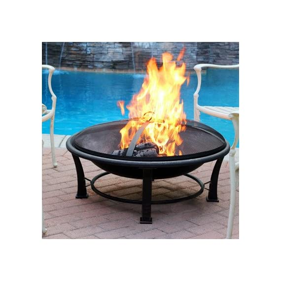 Jeco FP005 Golden Steel, Multicolored - Made of sturdy Steel construction Sturdy four leg support for fire bowl to provide stability. Country of Origin is China - patio, outdoor-decor, fire-pits-outdoor-fireplaces - 51o4uN3jxWL. SS570  -