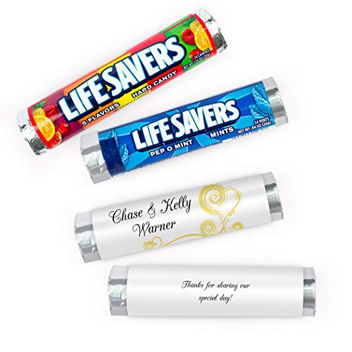 Wedding Candy Personalized Lifesavers 5 Flavor Rolls(20 ()