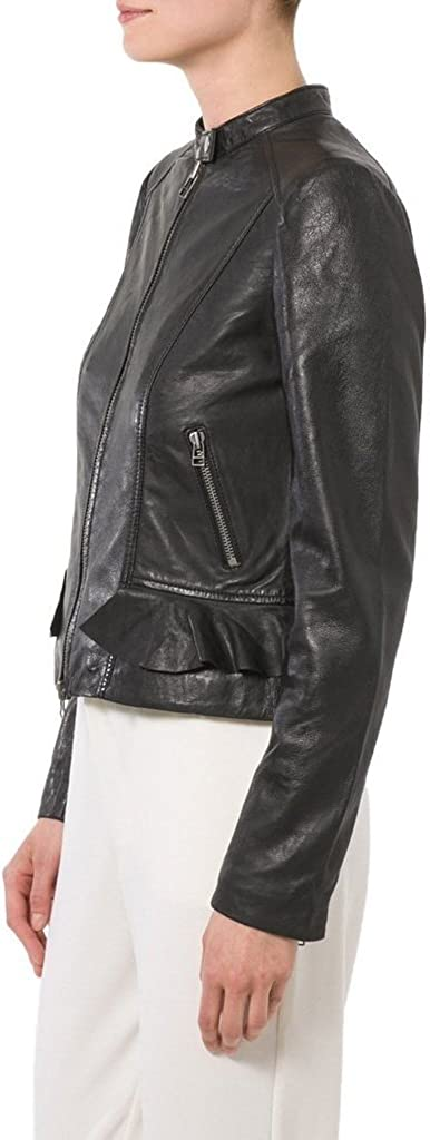Womens Sheep Leather Motorcycle Slim Fit Outwear Jackets LFW017