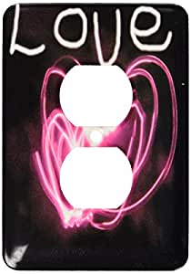 3dRose LLC lsp_64846_6 Love and A Pink Heart Made From Light Painting, 2 Plug Outlet Cover