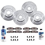 Detroit Axle - All (4) Front and Rear Drilled and Slotted Disc Brake Rotors w/Ceramic Pads w/Hardware & Brake Cleaner Fluid for 2011-2017 Dodge Durango - [2011-2012 Jeep Grand Cherokee]