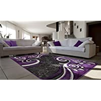 All New Contemporary Modern Swirl with Floral Carved Area Rug Legacy Collection by Rug Deal Plus (711 x 107, Purple/Black)