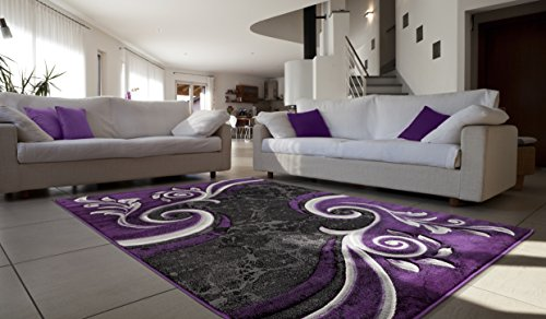 All New Contemporary Modern Swirl with Floral Carved Area Rug Legacy Collection by Rug Deal Plus (7'11'' x 10'7'', Purple/Black) by Rug Deal Plus