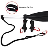 Paddle Leash Safety Rod Bungee Rod Holder Gripping Gear Leash with Innovative Gel Grip to the Paddle or Rod for Kayaking, Canoeing (Set of 3)