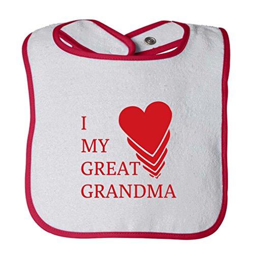 I Love My Great Grandma Infant Contrast Trim Terry Bib White/Red (Great Grandma Bib)