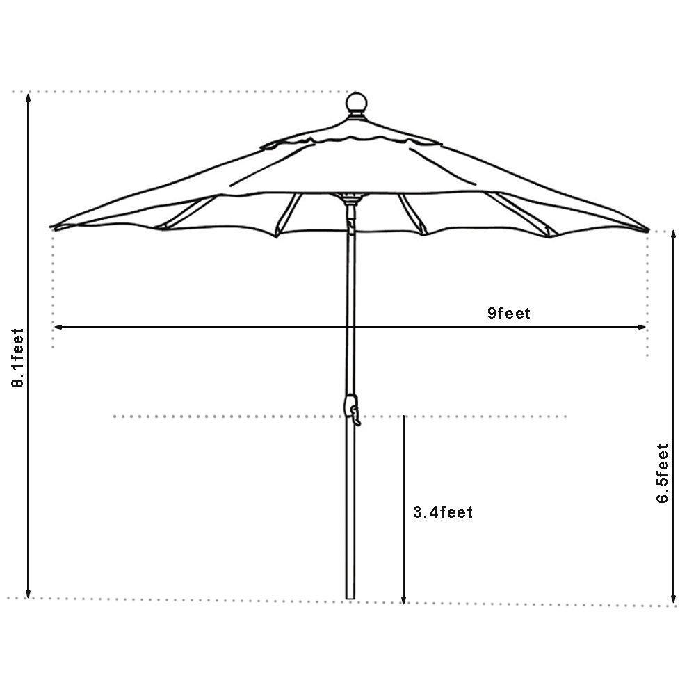 EliteShade 9Ft Market Umbrella Patio Outdoor Aluminum Backyard Table Umbrella (Burgundy) by EliteShade (Image #5)