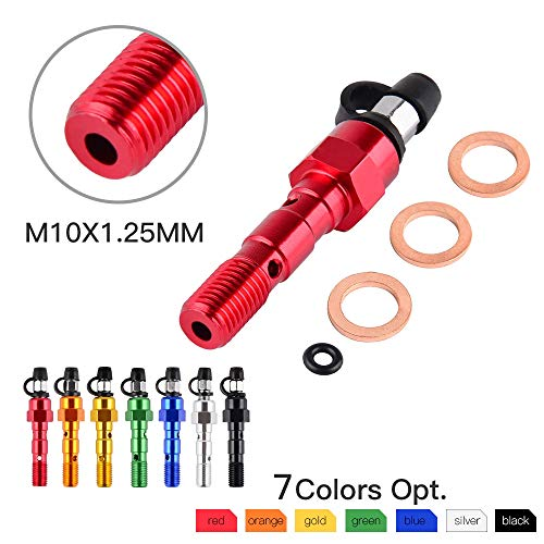SMARTCARTOY- x 1.25mm M10x1.0mm Brake Caliper Bleeder Double Banjo Bolt Screw Washer Bleed Screw for Honda Yamaha Kawasaki Suzuki #821 - by SMARTCARTOY - 1 PCs