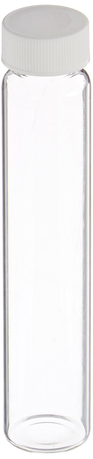 JG Finneran 9-090-2 Clear Borosilicate Glass Precleaned VOA Vial with White Polypropylene Solid Top Closure and PTFE Lined, 24-400mm Cap Size, 60mL Capacity (Pack of 100)