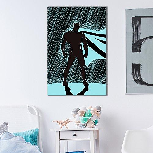Superhero Silhouette Standing in The Rain Comic Strip Pop Art