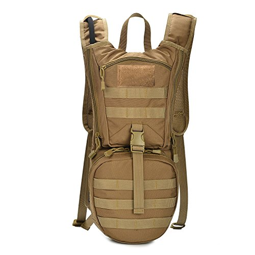 INDEPMAN Tactical Hydration Pack Backpack, Waterproof 1000D Nylon Molle Rucksack 3L TPU Bladder Water bag Hiking, Biking, Running by INDEPMAN