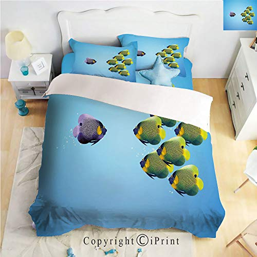 Home Luxury 4-Piece Bed Sheet,Purple Angelfish Leading The Yellow Group Be Different Inspirational Decorative,Light Blue Yellow Purple,Queen Size,Softest Bed Sheets and Pillow Cases