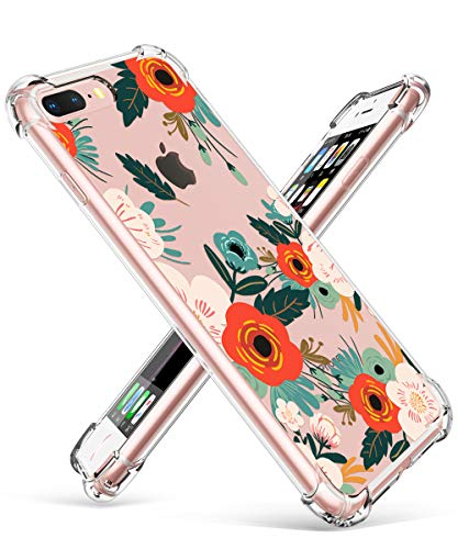 GVIEWIN Clear Case for iPhone 8 Plus/7 Plus, Flower Pattern Design Soft & Flexible TPU Ultra-Thin Shockproof Transparent Floral Cover, Cases for iPhone 7 Plus/8 Plus 5.5 Inch(Flowering/Reseda Green) ()