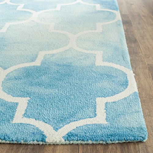 Safavieh Dip Dye Collection DDY535D Handmade Moroccan Vibrant Watercolor Turquoise and Ivory Wool Area Rug (3' x 5')