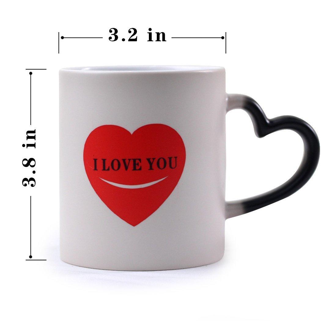 YUWU Funny Color Changing Mugs Heat-Sensitive Mug Heat Changing Heart Mug Novelty I Love You Morning Magic Coffee Mugs,Christmas Gifts For Men Women Mom Dad