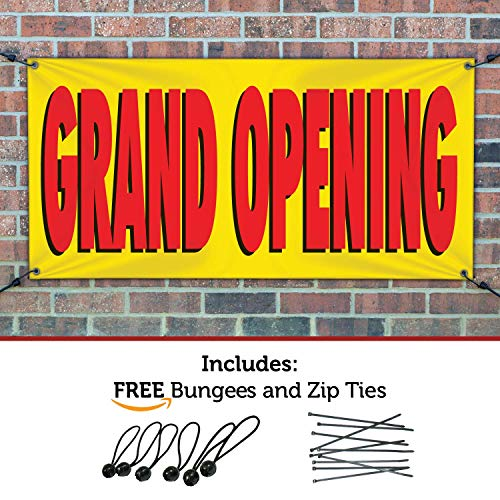 HALF PRICE BANNERS - Grand Opening Banner - Indoor/Outdoor - 3'x6' Yellow - Made in The USA (Outdoor Banner Opening)