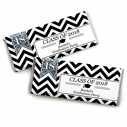 Custom Tassel Worth The Hassle - Silver - Personalized 2018 Graduation Party Favors Candy Bar Wrappers - Set of 24 (Bars Graduation Personalized Candy)