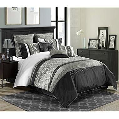 9 Piece King Bordeaux Black/Gray/White Comforter Set