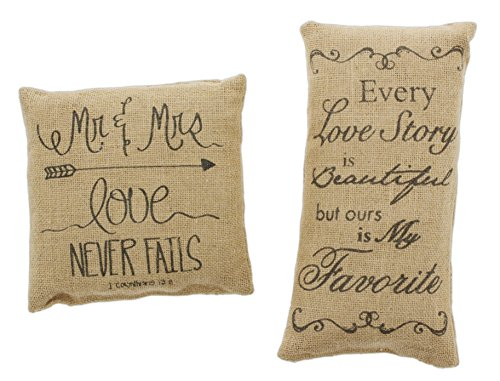 Country House Bundle of 2 Mini Burlap Accent Pillows 'Mr. & Mrs.' & 'Every Love - Story Farmhouse
