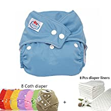 WTOR Baby 8Pcs Cloth Diapers and 6-Layers 8Pcs Diaper Liners Inserts Infant Adjustable Size Reuseable Washable Pocket Cloth Diaper for Baby,Multi-color Coth Diaper&Pure Diaper Liners-100% Cotton