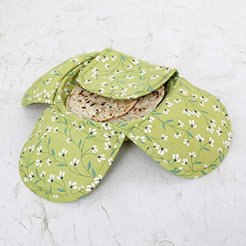 Home Centre Mandarin Floral Print Bamboo Bread Basket with Cotton Lining, Green